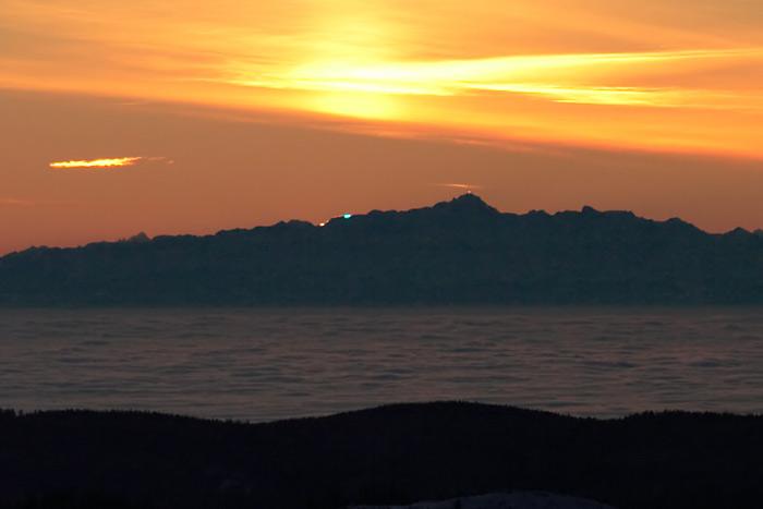 Blauer blitz säntis alpenkette feldberg nebelmeer